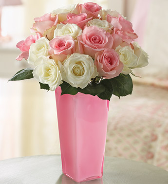 pink and white roses. COM Mother's Day collections, I would pick the Pink & White Rose Bouquet.