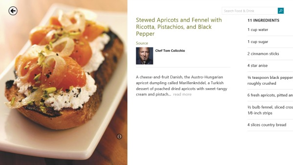 Chef Tom Colicchio's recipe for Stewed apricots and fennel with ricotta, pistachios and black pepper.