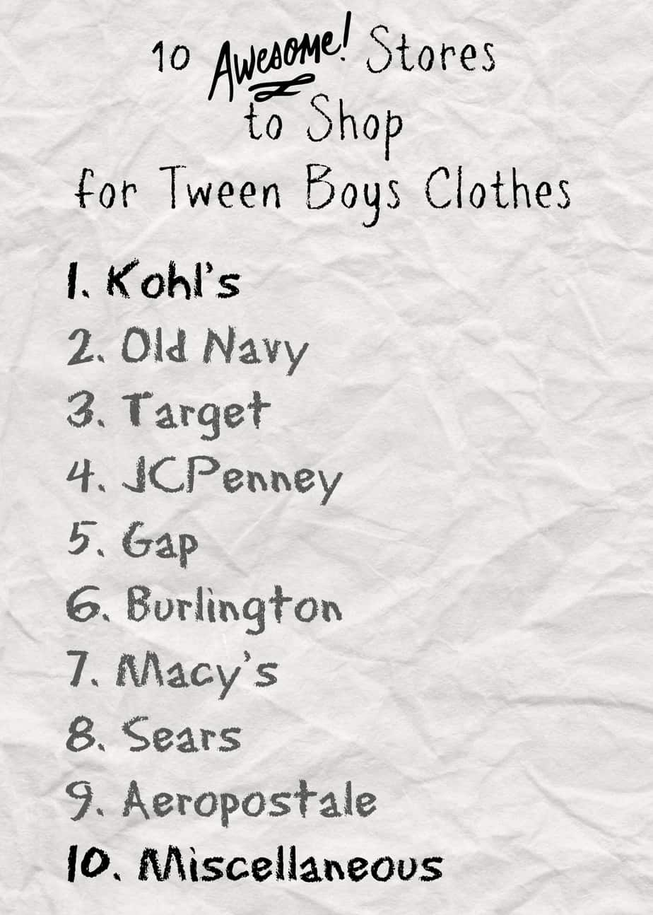 Best Places to Shop for Tween Boy Clothes