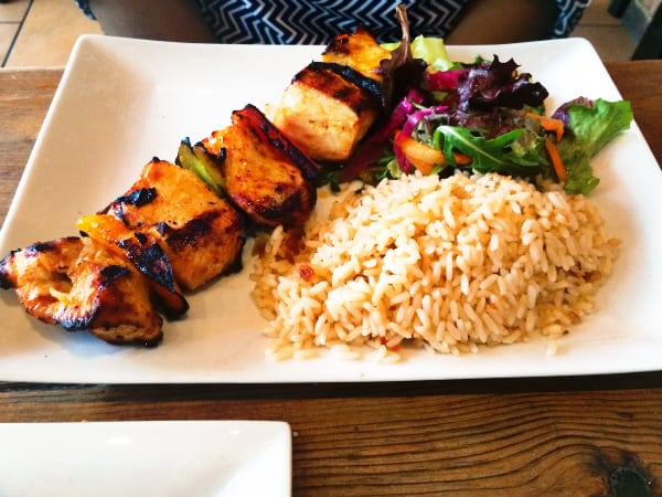 bodrum mediterranean restaurant - Chicken Sis Kebab - Ground marinated cubes of chicken breast skewered with onions & peppers. Served with Turkish rice and mixed greens