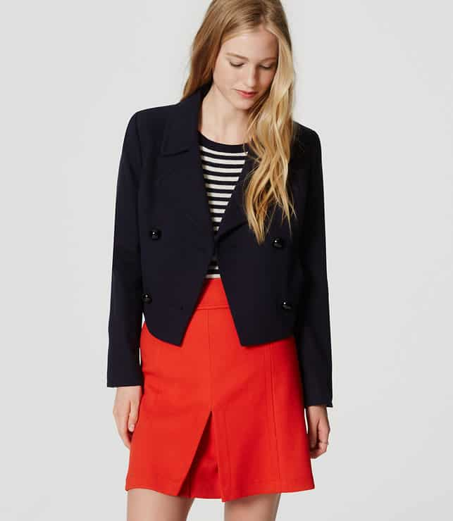 LOFT cropped navy peacoat - Best Fall Jackets for Women That They Will Love to Wear