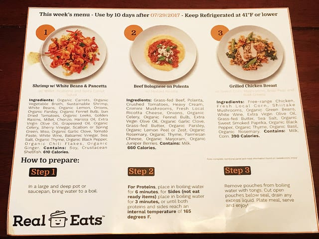 real eats menu sample