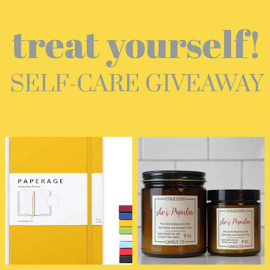 Mom In The City's Self-Care Giveaway - Treat Yourself! Candle, journal, natural bath products and affirmation pillow