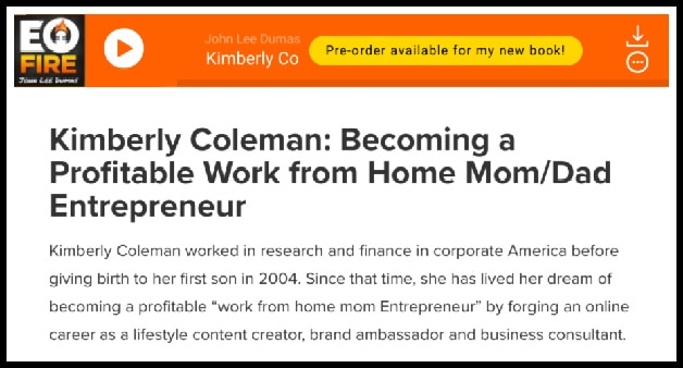 Becoming a Profitable Work from Home Mom/Dad Entrepreneur - Kimberly Coleman on Entrepreneur on Fire