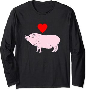 Pig Love Pink Pig with Red Heart Funny Alternative Valentine's Day Shirt