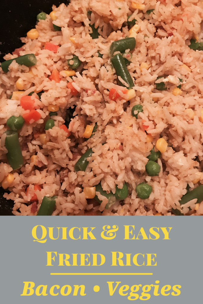 quick and easy fried rice with bacon and veggie